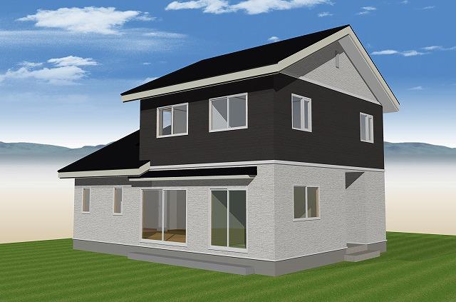 """""""白と黒のシックな外観、三角屋根が重なる佇まいの家"""""""